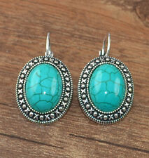 Pretty New Tibetan Silver Turquoise Oval Shape Artesian Dangle Drop Earrings