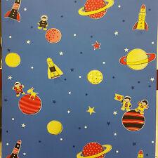 20006 Space Planets Rockets Kids Boys Blue Feature Wall Wallpaper Debona