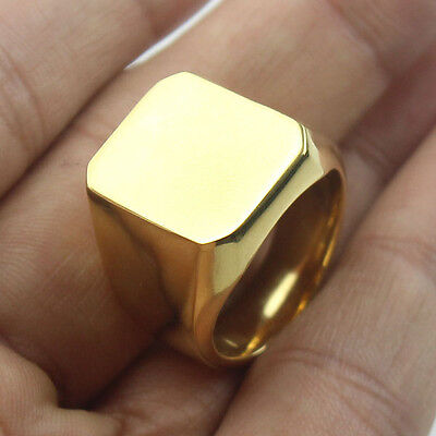 Men's Gold Tone High Polished Signet Solid 316L Stainless Steel Ring