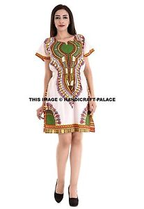 Traditional-African-Print-Dashiki-Dress-Short-Sleeve-Women-039-s-Fashion-Party-Dress