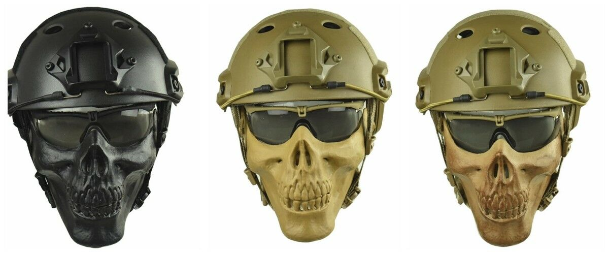 Tactical Fast Helmet  & Adjustable Half Face Mask Combination Airsoft Paintball  authentic