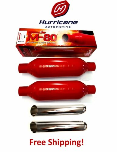 """2 Cherry Bomb M80250 M-80 Single 1 Chamber Mufflers 2.5/"""" In//Out Plus Chrome Tips"""