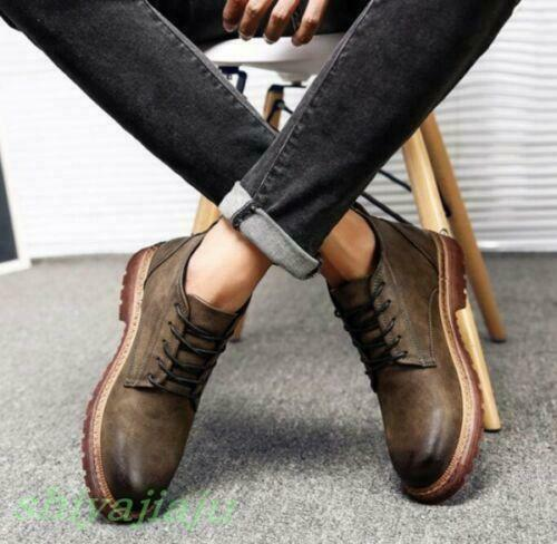 Men/'s Vintage British High Top Chukka Winter Lace Up Casual Cowboy Cheville Bottes S