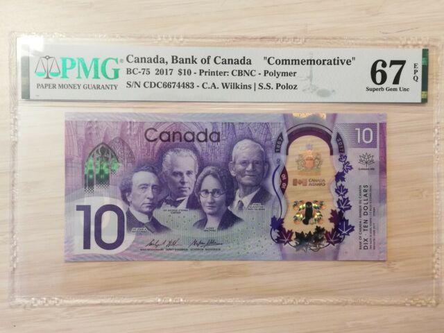 Canada 10$ commemorative 2017 polymer banknote 150th anniv PMG 67