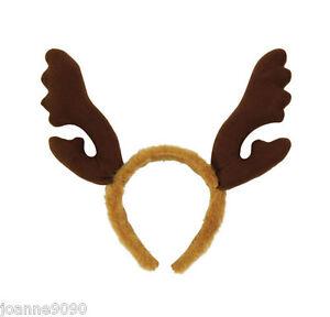 New-Christmas-Brown-Fur-Reindeer-Rudolph-Headband-Antlers-Stag-Party-Fancy-Dress
