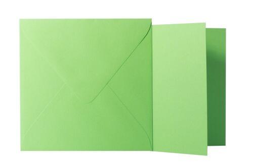 25x Briefumschläge Klappkarten quadratisch Gras Grün 15x15 cm // 14,5x14,5 cm