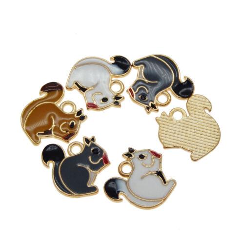 12x Metall Emaille Gemischt Eichhörnchen Tiere Anhänger Charm Schmuckherstellung