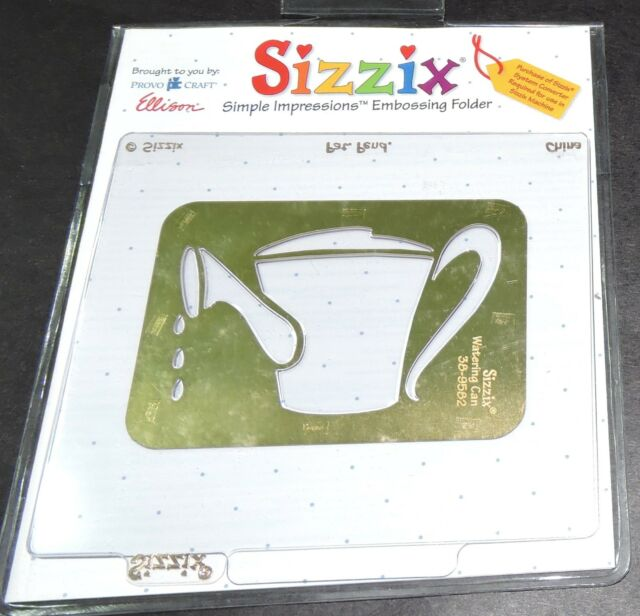 sizzix brass stencil watering can template burnish emboss paper