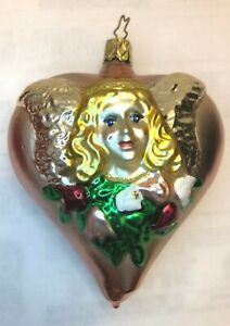 MERCK FAMILY OLD WORLD CHRISTMAS ORNAMENT ANGEL ON PINK HEART BLOWN GLASS