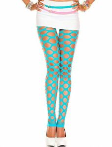 Turquoise-Blue-Opaque-Pothole-Style-Footless-Tights-Sexy-Fashion-Lingerie-P35158