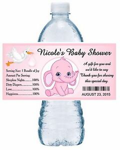 Details About 20 Pink Elephant Baby Shower Water Bottle Labels Party Favors Glossy