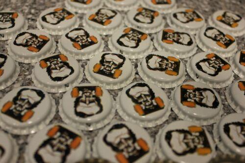 100 BRIGHT WHITE RAVEN BREWERY BEER BOTTLE CAPS UNCRIMPED EDGAR ALLAN POE