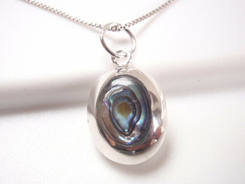 Reversible Abalone and Mother of Pearl 925 Sterling Silver Oval Necklace