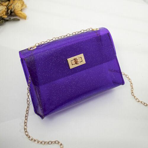 Women/'s PVC Transparent Clear Shoulder Bag Tote Jelly Candy Summer Beach Handbag