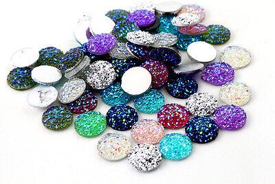 12mm Glitter Resin CabochonsMixed Colours40pcs