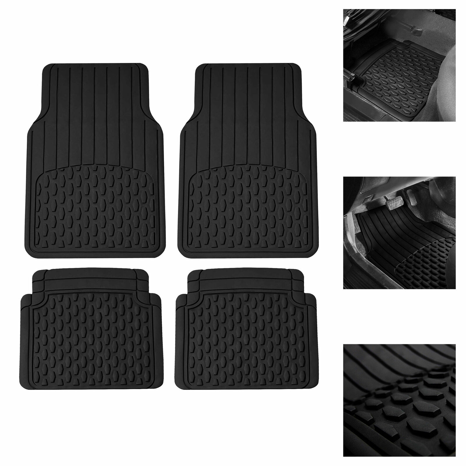Caterpillar CAT Large Heavy Duty Odorless Rubber Floor Mats Black All Weather Total Protection Durable Trim to Fit Liners for Car Truck SUV /& Van CAMT-150-BK