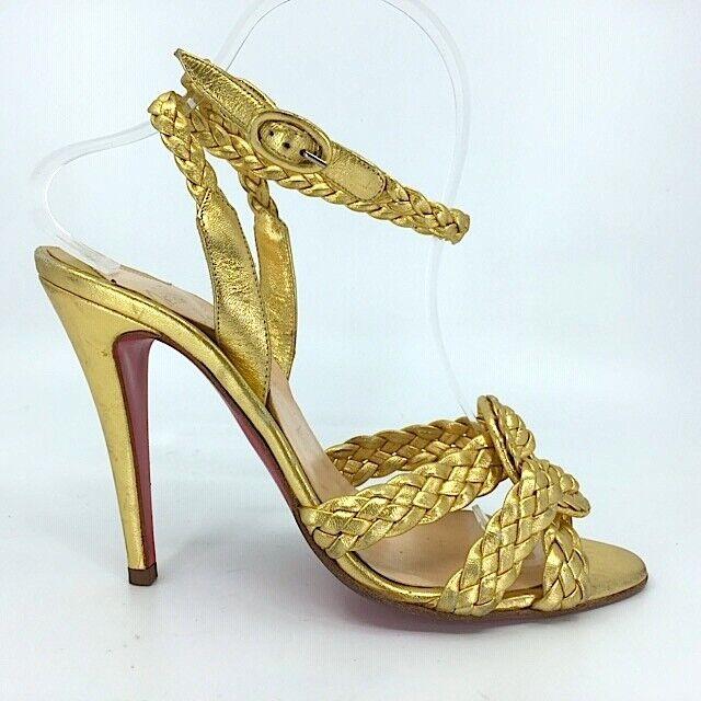 CHRISTIAN LOUBOUTIN guld läder Braded Wrap Ankle Ankle Ankle remmar Sandaler 38.5  senaste stilar