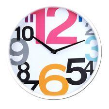 Uhr Wanduhr Analog Dekoration Wohnzimmer Küche Kinderzimmer Ø 30 cm Retro Weiß