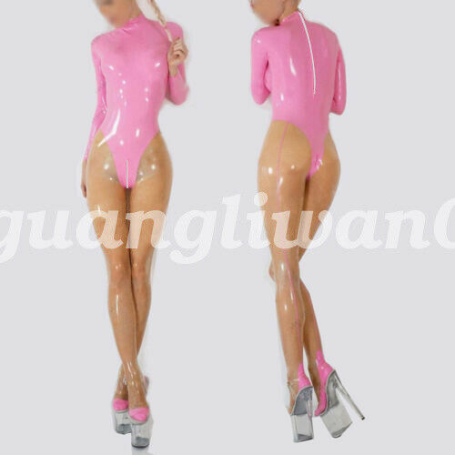 Pure Latex Rubber Women Catsuit Bodysuit Tights Suit Set 0.4mm Size S-XXL