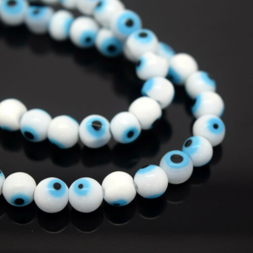 PICK COLOUR EVIL EYE ROUND LAMPWORK GLASS BEADS 4MM,6MM,8MM