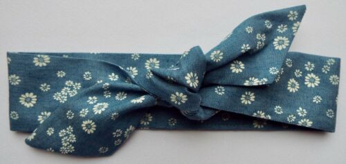 DAISY FLOWER BLUE DENIM HEADWRAP WRAP HEADBAND KNOT BOW BABY TODDLER GIRLS NEW