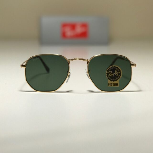 a67c93e06901 Ray-Ban Rb3548n 001 Hexagonal Gold Frame Green Classic 51mm Lens Sunglasses  for sale online