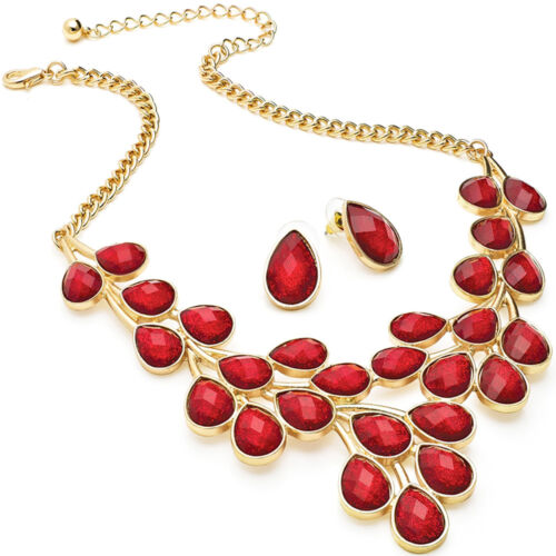 Red glitter stone statement gold necklace earrings costume fashion jewellery set