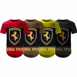 NEW-Men-Ferrari-Shirt-Side-Zipper-Longline-Shirts-3D-Gold-Foil-4-Colors-S-2XL