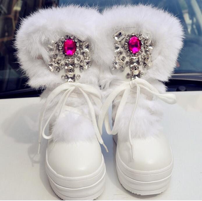 donnaRhinestone Fashion Mid Calf avvio Real  Fur Warm Winter Snow avvio scarpe Whi