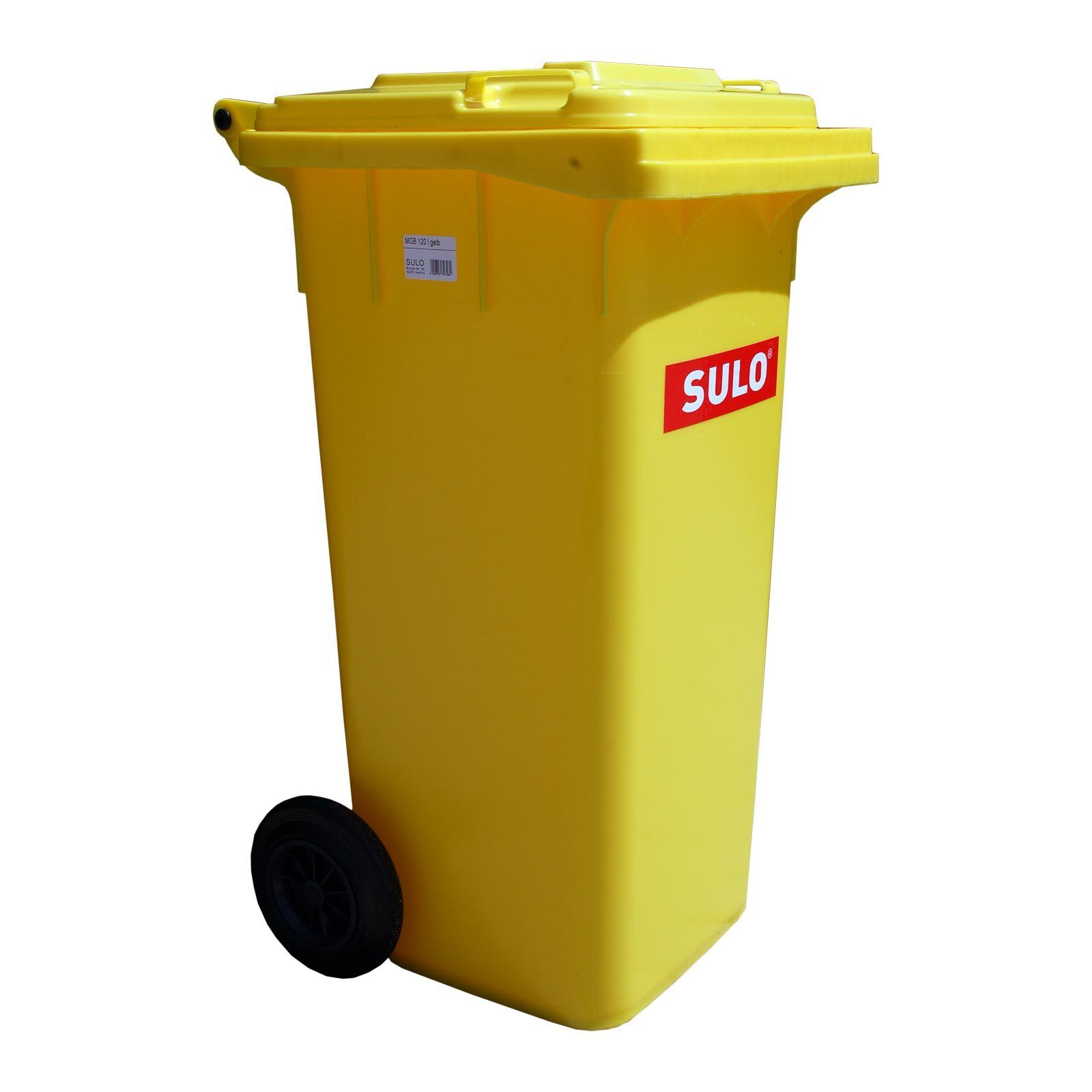 120 L dustbin SULO Gelb bin recycling household roll waste container (22071)