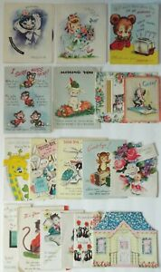 Greeting-Cards-Hallmark-Rust-Craft-amp-More-1950-s-Lot-of-18-Pop-Ups-amp-More