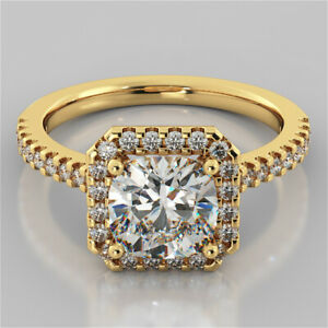1.93 Ct Cushion Cut Moissanite Anniversary Ring 18K Real Yellow Gold ring Size 8