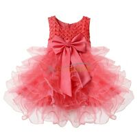 Baby Girls Princess Wedding Bridesmaid Party Pageant Flower Tutu Dress Age 3-24M