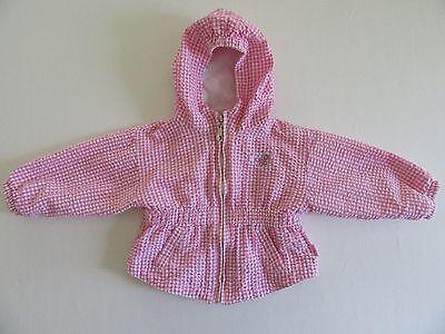 OshKosh B'Gosh Baby Girl's Jacket 6-9mo Infant Pink Gingham Hooded Coat