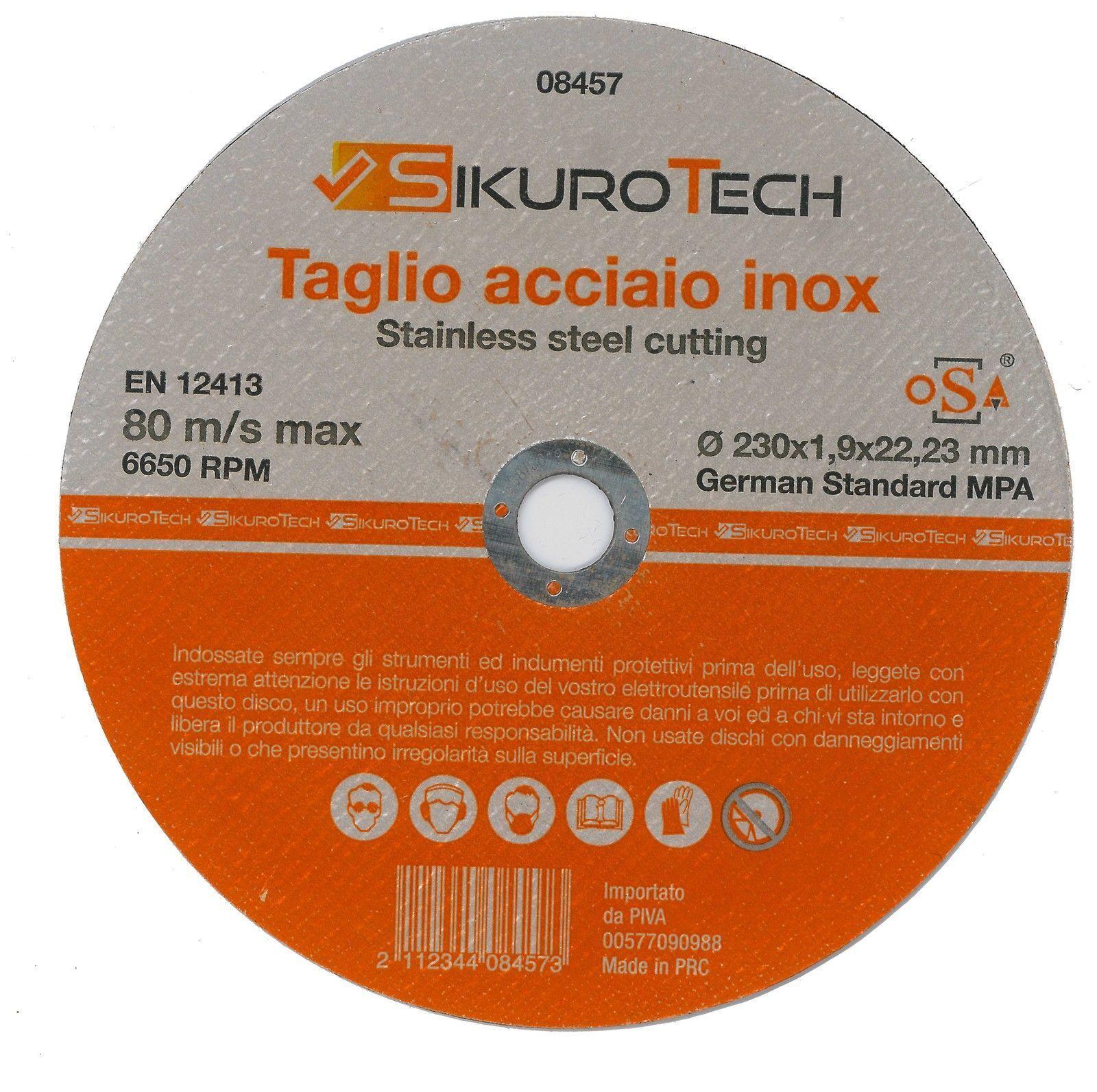 Disco Taglio Ferro Inox 230x1,9x22,23mm Smerigliatrice High Quality Alta Qualità