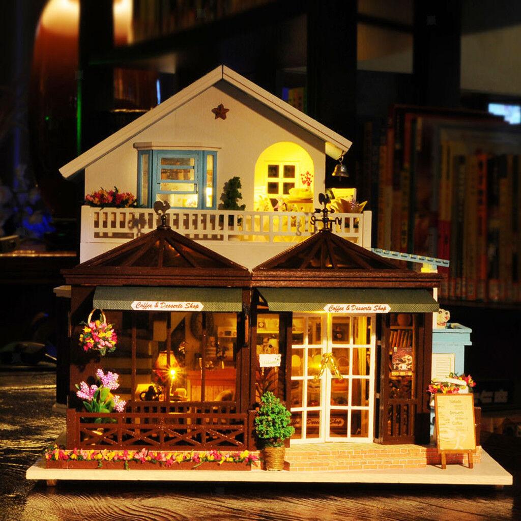 Hágalo usted mismo de madera casa de muñecas en miniatura Muebles Kit Con LED + + Caja de Música para Niños de Regalo