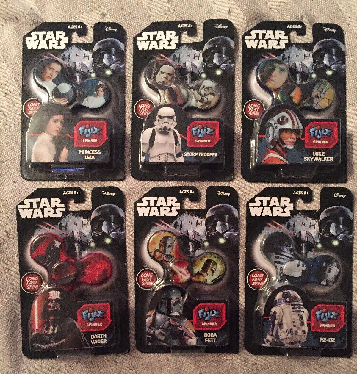 Star Wars Fidget Spinner Fijix Lot R2-D2 Boba Fett Vader Stormtrooper Luke Leia
