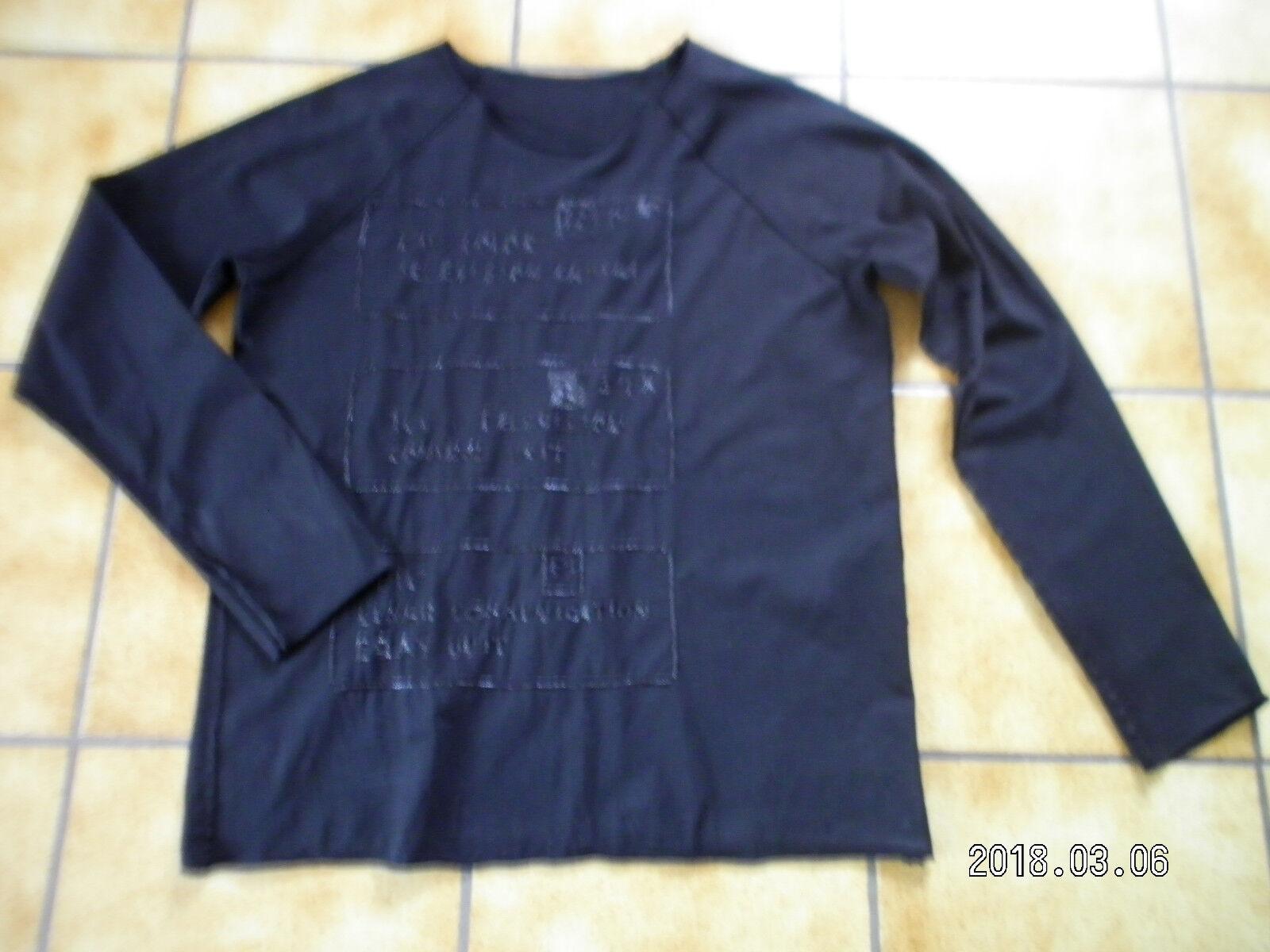 Rundholz DIP,Damen-,Herren Shirt unisex,Gr.L(XL,OS),Print,zwei Stoffe,Lagenlook.