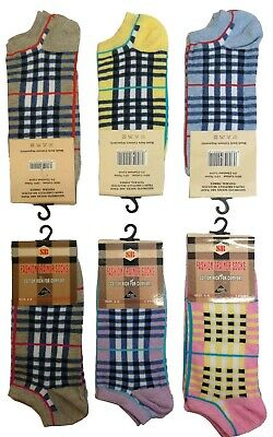 12 /& 6 Pairs Ladies Women Trainer Socks Tartan Sport Gym Ankle 4-6 size Assorted