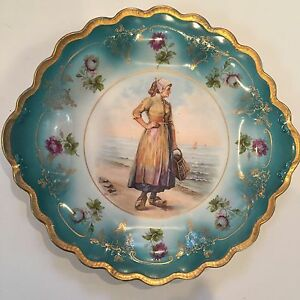 Vintage Hand-Painted Porcelain Cabinet Plate Prussia Style w/ Dutch Woman