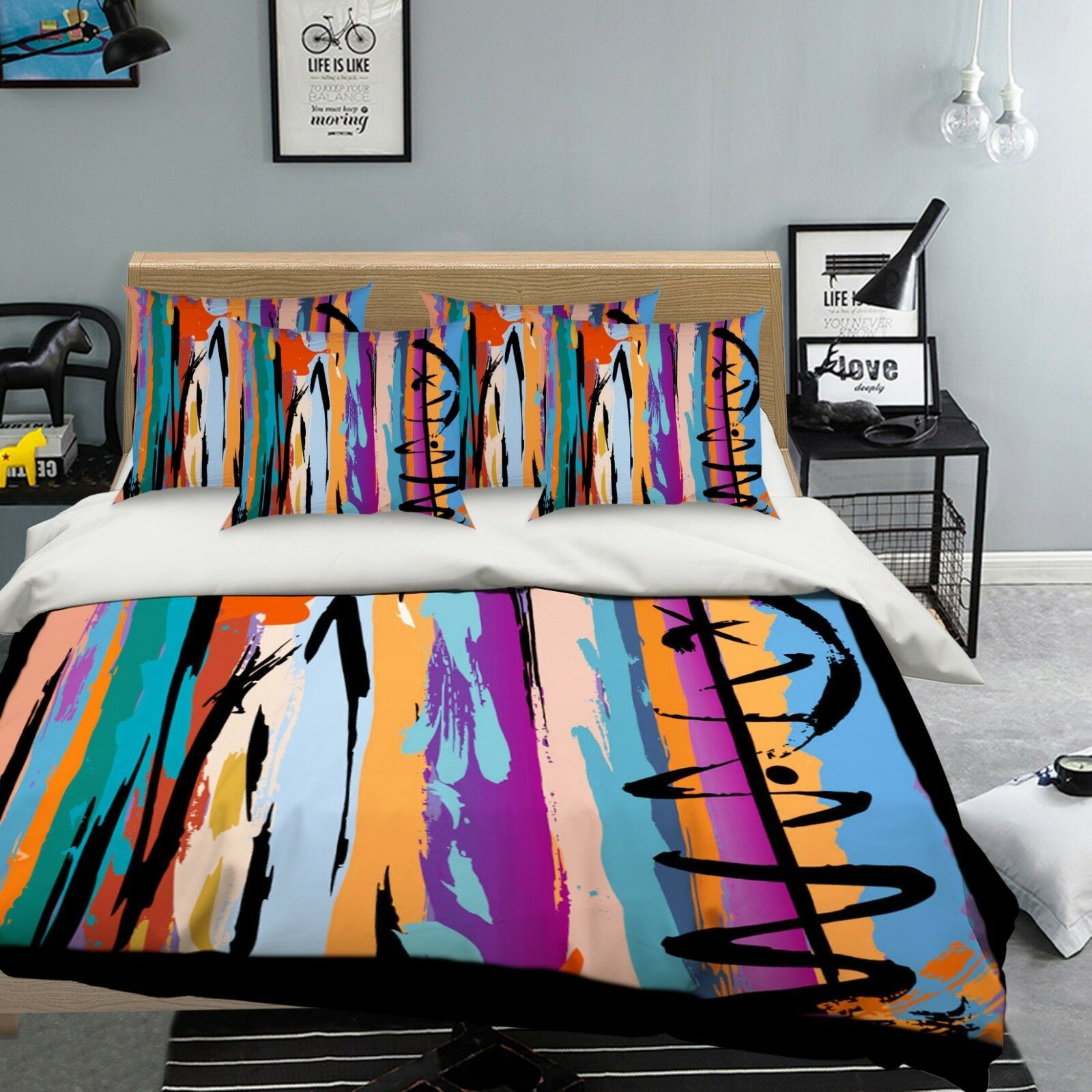 3D Stripe colord 57 Bed Pillowcases Quilt Duvet Cover Set Single Queen AU Carly