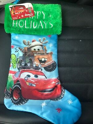 "NEW Disney Cars Lightning McQueen Tow Mater Christmas Stocking 20""  **FREE SHIP"