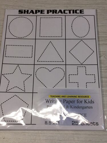 20 lb 25 sheets SHAPE PRACTICE Writing Paper for Kids 11X 8.5 in