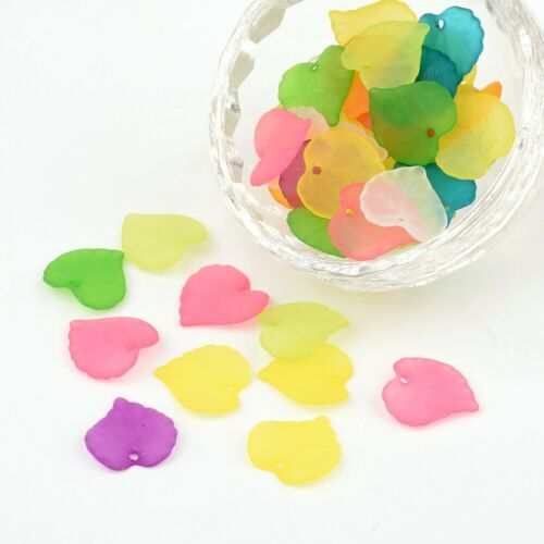 50~100Pcs Frosted Acrylic Leaf Pendants Charms for DIY Necklace Earring Making