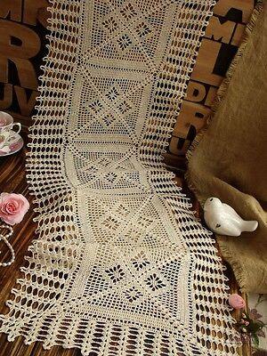 """Vtg 48"""" HAND Crochet Lace Table Runner Dresser Scarf Cotton Ecru -FRINGE Diamond"""
