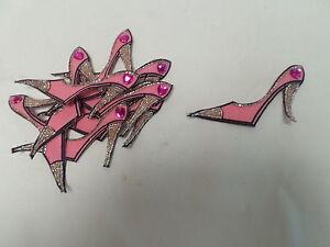 10 X Grande Rosa Hecha A Mano Chica de creación de tarjetas Arts Scrapbook Tacones Motif # 18a65