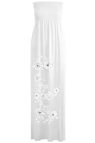 Ladies Womens Print Boobtube Bandeau Sheering Strapless Gathered Long Maxi Dress