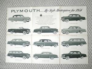 1954 Plymouth Brochure/catalogue/affiche : Belvedere, Plaza ,savoie, Dernier Style