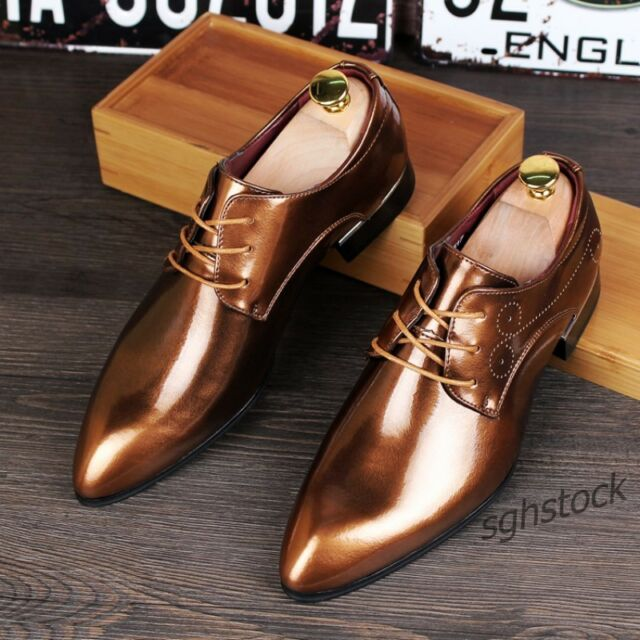 New Mens Dress Formal Shoes Brogue Pointy Toe Patent Leather Dress Wedding Shoes