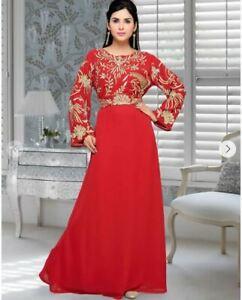 Dubái Rojo Marroquí Caftán Jalabiya Étnico Jalabiya Suelo Largo Fiesta Vestido